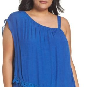 BOBEAU ONE SHOULDER OVER LAY BLUE TOP